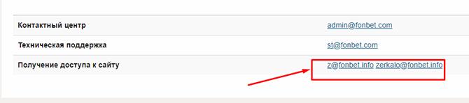 Скрин контактных электронных адресов Fonbet.com