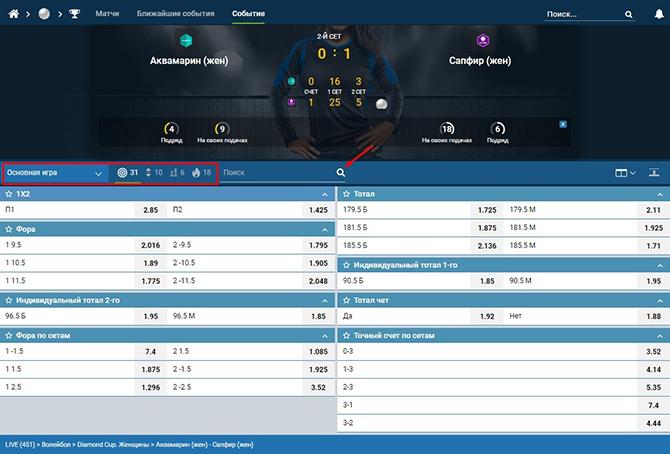 Скрин ставок на волейбол в лайве на сайте БК 1хСтавка