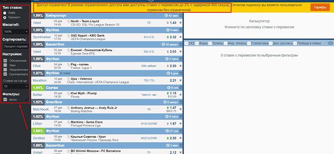 Скрин раздела Valuebetting на сайте AllBestBets